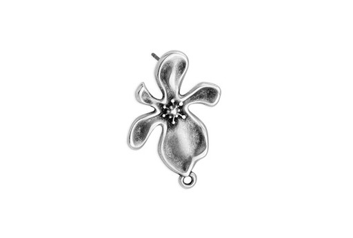 Earring Organic Flower With 1 Ring Titanium Pin - Silver 17x29mm - 2pcs