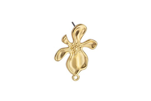Earring Organic Flower With 1 Ring Titanium Pin - Gold 17x29mm - 2pcs