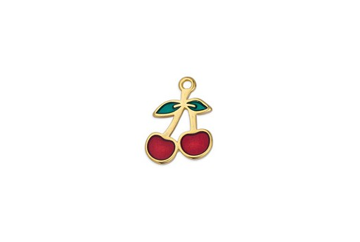 Motif Cherries Pendant - Gold 14x18mm - 1pc