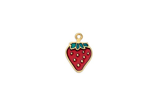 Motif Strawberry Pendant - Gold 13x18mm - 1pc