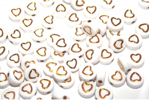 Plating Acrylic Beads - Heart 7x4mm - 30pcs