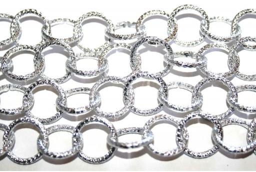 Aluminium Rolo Chain Shining Trace - Silver 15,5x2mm - 1m