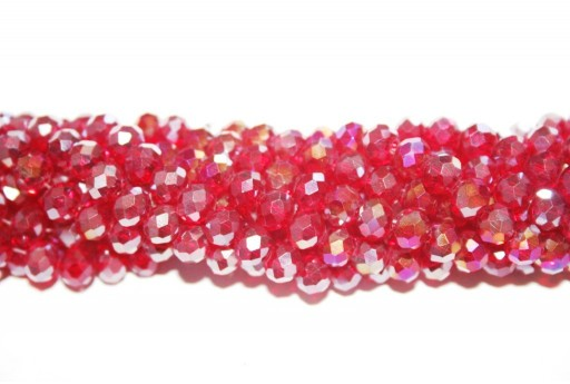 Chinese Crystal Beads Faceted Rondelle Red AB 6x4mm - 90pcs