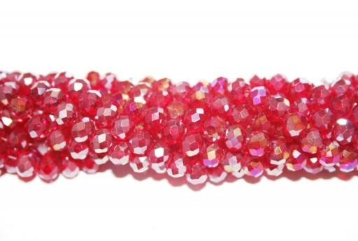 Perline Vetro Rondella Sfaccettata Rosso AB 6x4mm - 90pz