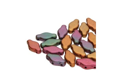 Czech Glass Navette Beads - Violet Rainbow 6x12mm - 10gr