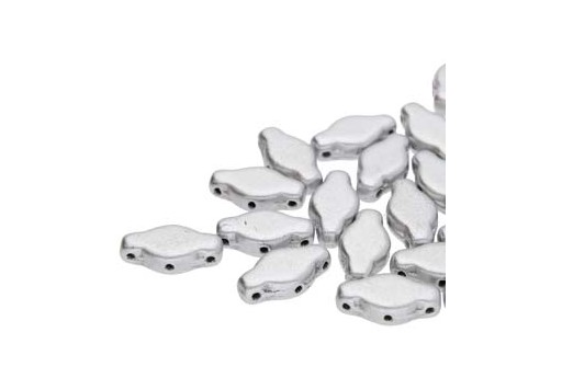 Czech Glass Navette Beads - Aluminum 6x12mm - 10gr