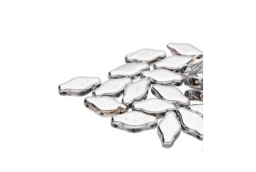 Czech Glass Navette Beads - Silver 6x12mm - 10gr