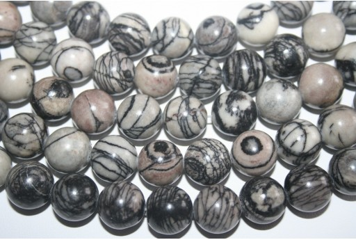 Jasper Beads Veined Black Sphere 14mm - 3pz