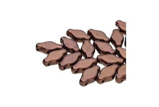 Czech Glass Navette Beads - Dark Bronze 6x12mm - 10gr