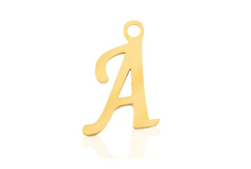 Stainless Alphabet Pendant Letter A - Gold 16mm - 1pc