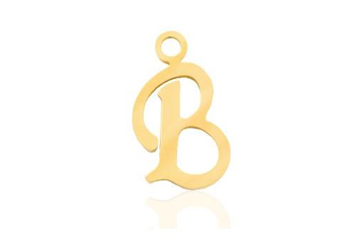 Stainless Alphabet Pendant Letter B - Gold 16mm - 1pc