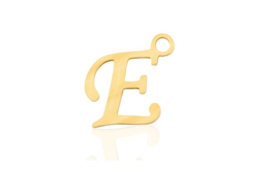 Stainless Alphabet Pendant Letter E - Gold 16mm - 1pc