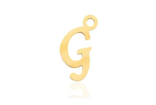 Stainless Alphabet Pendant Letter G - Gold 16mm - 1pc
