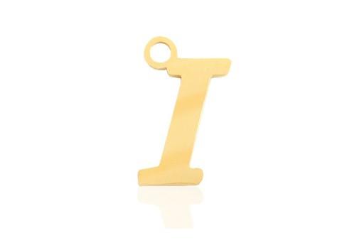 Stainless Alphabet Pendant Letter I - Gold 16mm - 1pc