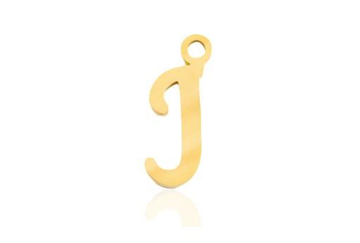 Stainless Alphabet Pendant Letter J - Gold 16mm - 1pc