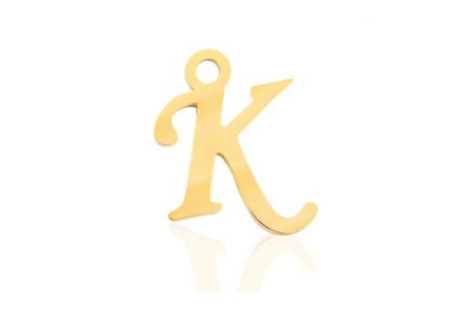 Stainless Alphabet Pendant Letter K - Gold 16mm - 1pc
