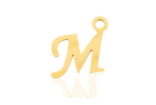 Stainless Alphabet Pendant Letter M - Gold 16mm - 1pc