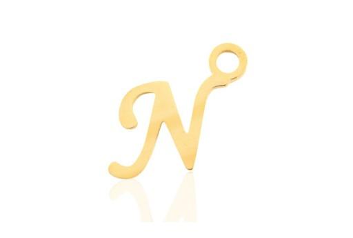 Stainless Alphabet Pendant Letter N - Gold 16mm - 1pc