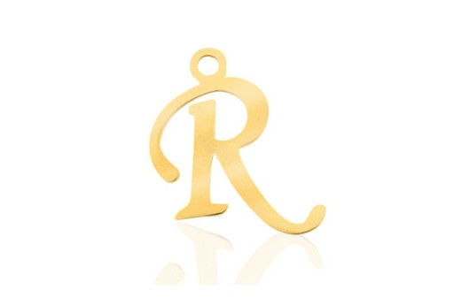 Stainless Alphabet Pendant Letter R - Gold 16mm - 1pc