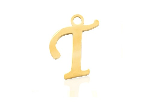 Stainless Alphabet Pendant Letter T - Gold 16mm - 1pc