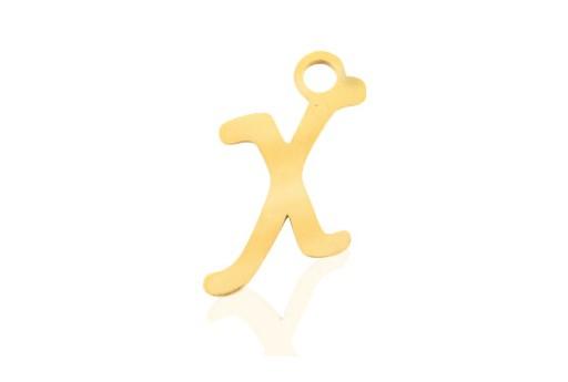 Stainless Alphabet Pendant Letter X - Gold 16mm - 1pc