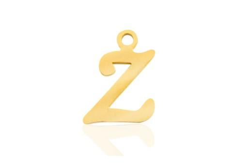 Stainless Alphabet Pendant Letter Z - Gold 16mm - 1pc
