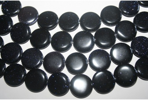 Blue Goldstone Flat Round Bead Strand 20mm 20pcs GS14