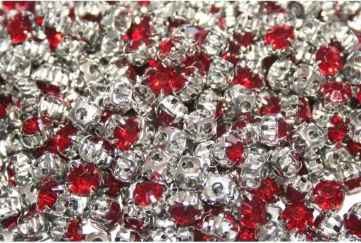 Acrylic Rhinestone Montee Beads Red 5mm - 30pcs