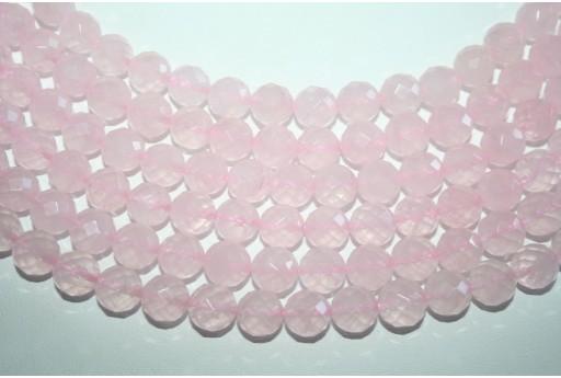 Filo 38 Pietre Quarzo Rosa Sfera Sfaccettata 10mm QURO12