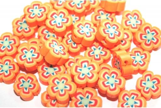 Perline in Pasta Polimerica Fiore - Arancio 10mm - 25pz