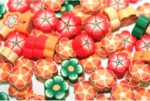 Polymer Clay Beads Flower - Mix Color 10mm - 25pcs