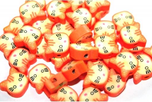 Perline in Pasta Polimerica Gatto - Arancio 12mm - 25pz