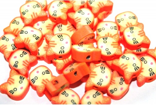 Polymer Clay Beads Cat - Orange 12mm - 25pcs