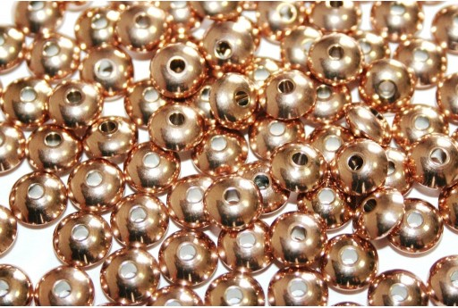 Stainless Steel Beads Rondelle Rose Gold 8x4mm - 4pcs