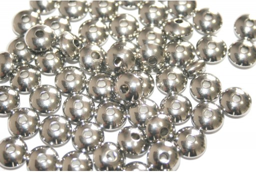 Stainless Steel Beads Rondelle Platinum 8x4mm - 4pcs