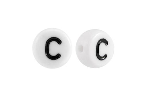 Perline Acrilico Bianco Lettera C - Tondo 7x4mm - 20pz