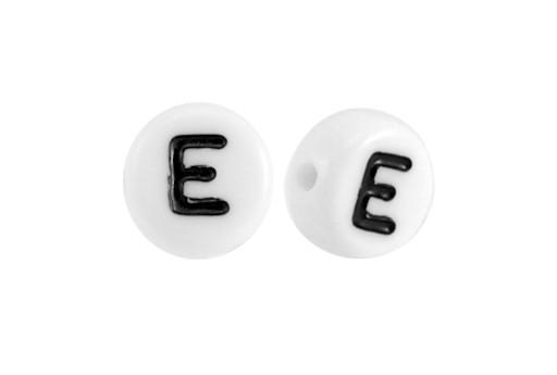 White Plating Acrylic Beads - Letter E 7x4mm - 20pcs