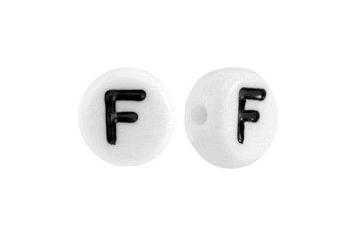 White Plating Acrylic Beads - Letter F 7x4mm - 20pcs