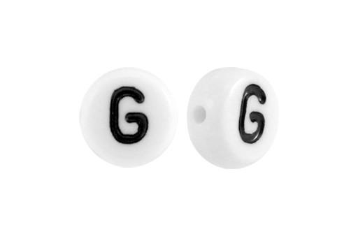 White Plating Acrylic Beads - Letter G 7x4mm - 20pcs
