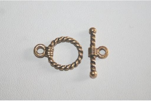 Chiusura T Bar Argento Tibetano Colore Oro 19x14mm