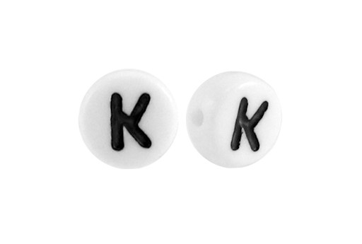 White Plating Acrylic Beads - Letter K 7x4mm - 20pcs