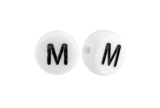 Perline Acrilico Bianco Lettera M - Tondo 7x4mm - 20pz