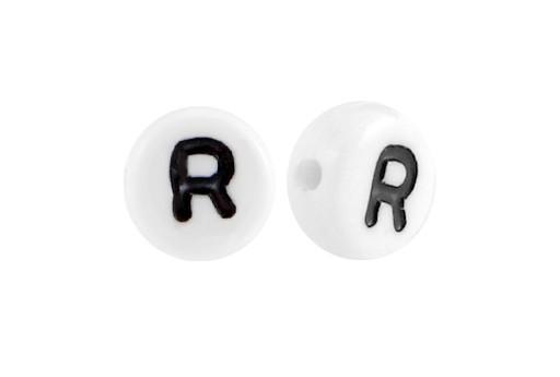 Perline Acrilico Bianco Lettera R - Tondo 7x4mm - 20pz