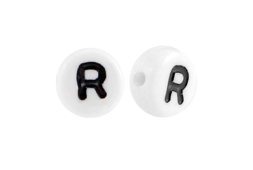 White Plating Acrylic Beads - Letter R 7x4mm - 20pcs