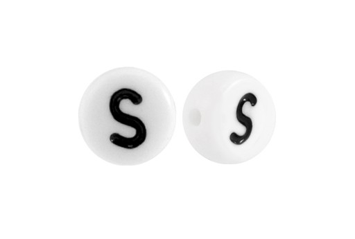 White Plating Acrylic Beads - Letter S 7x4mm - 20pcs