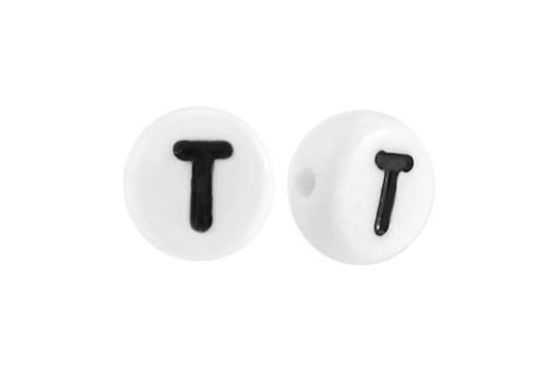 Perline Acrilico Bianco Lettera T - Tondo 7x4mm - 20pz