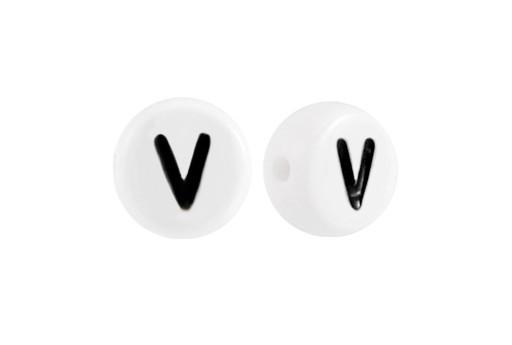 White Plating Acrylic Beads - Letter V 7x4mm - 20pcs