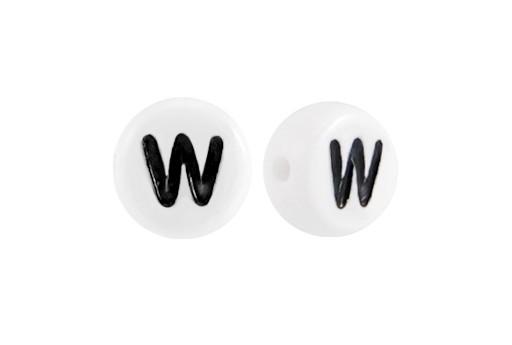 Perline Acrilico Bianco Lettera W - Tondo 7x4mm - 20pz