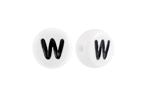 White Plating Acrylic Beads - Letter W 7x4mm - 20pcs