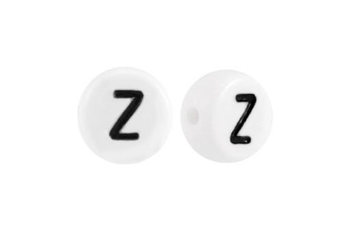 Perline Acrilico Bianco Lettera Z - Tondo 7x4mm - 20pz